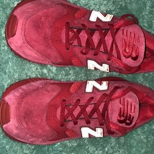 All red suede New Balance